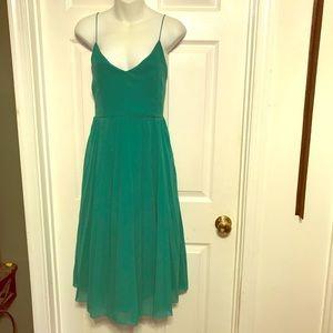 ASOS green skater pleated dress.